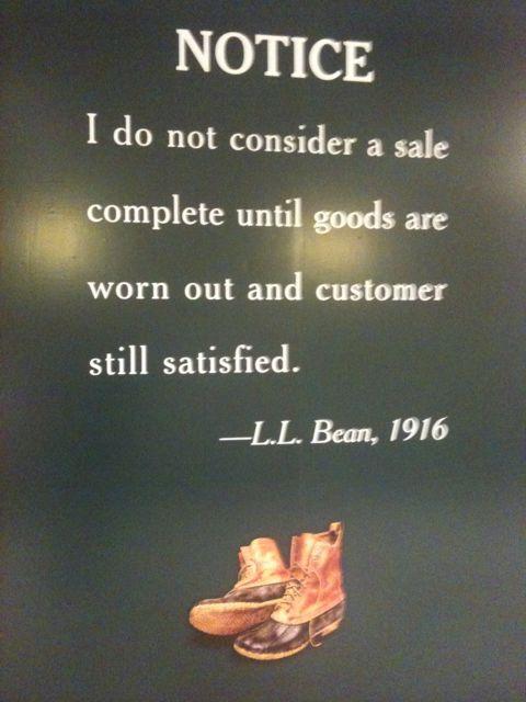 Plaque on an L. L. Bean store.