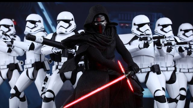 "Kylo Ren and Star Trooper in ""Star Wars: The Force Awakens"""