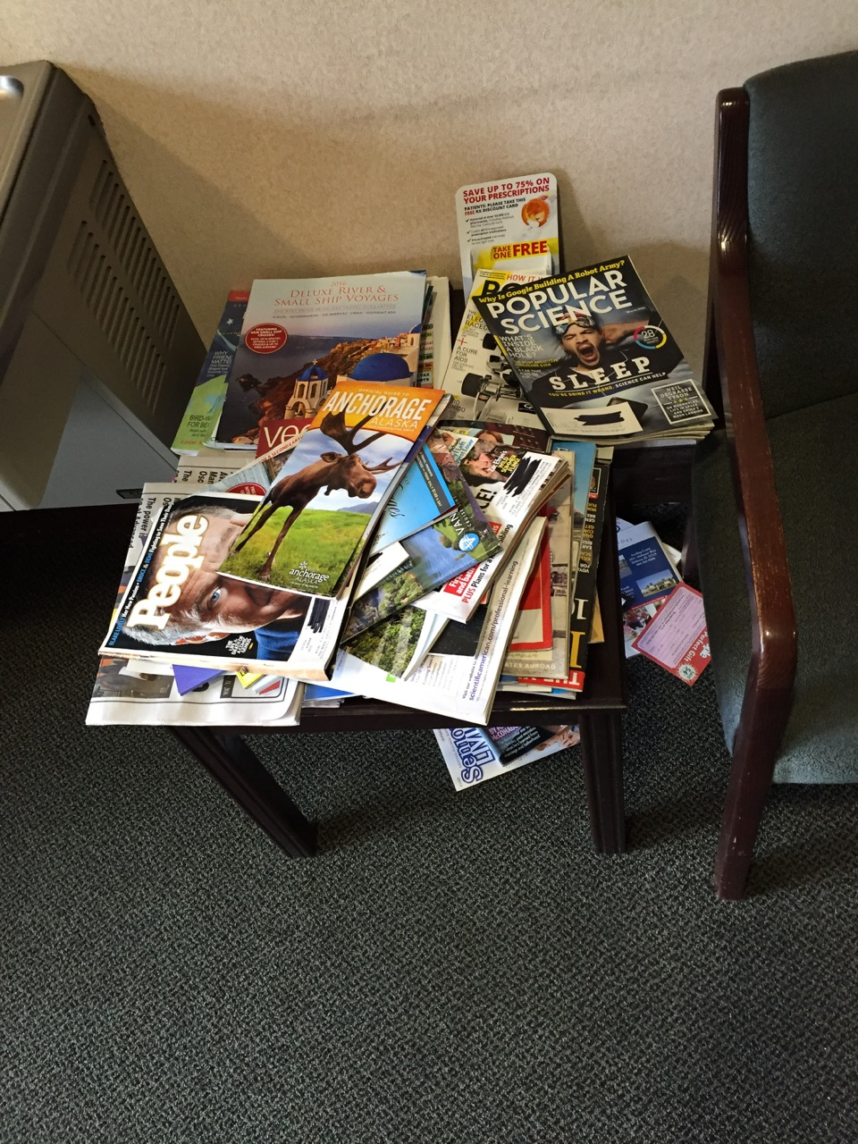 How many magazines does a waiting area need? Photo by J. Jeff Kober.
