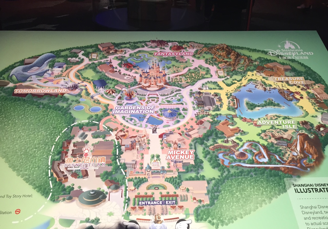 Map of Shanghai Disneyland displayed during D23. Can something that costs $4.4 billion end up trashed? Photo by J. Jeff Kober