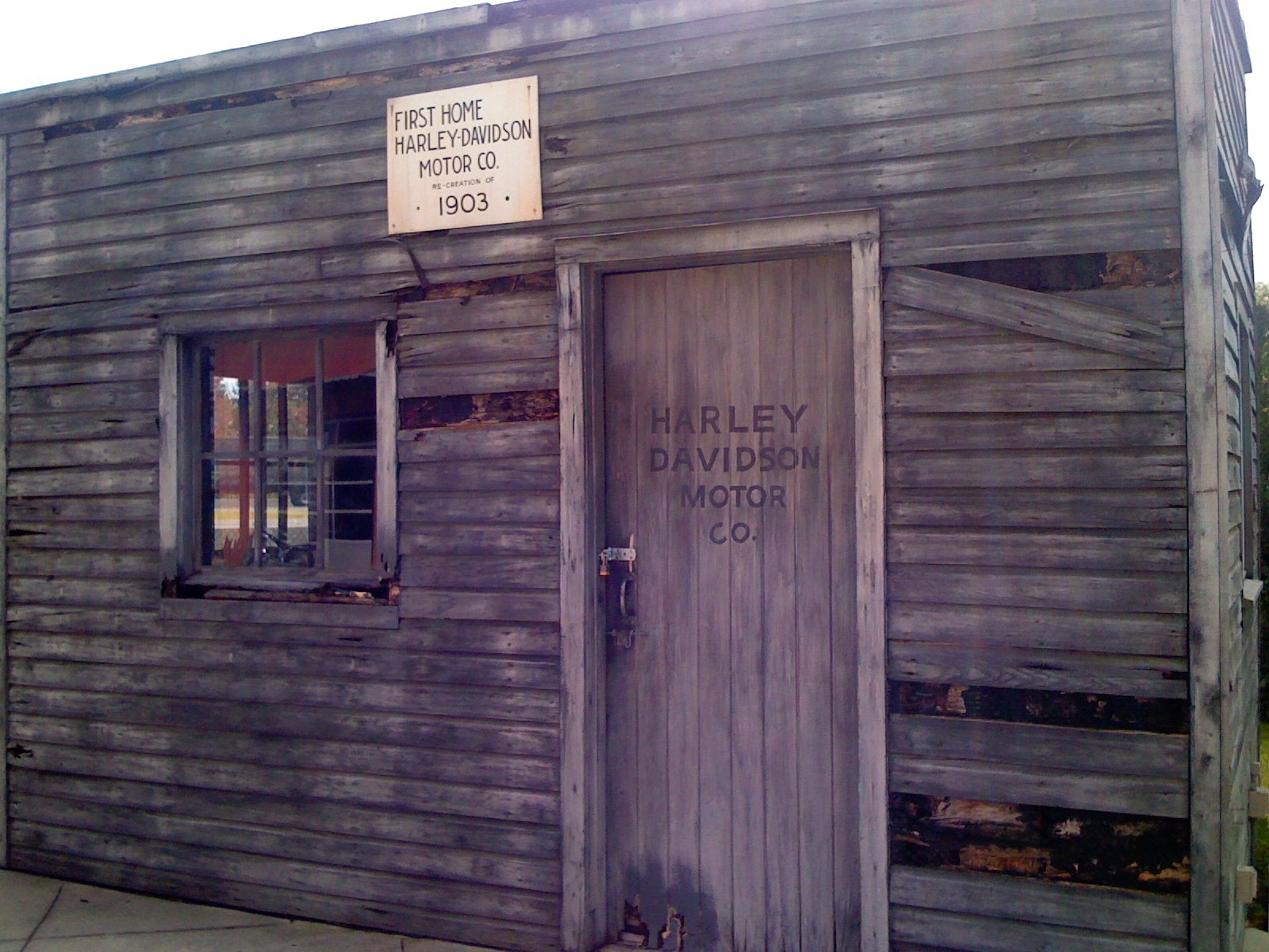 A replica of the first location where Harley Davidson got its start. Photo by J. Jeff Kober.